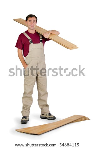 Parquet layer carrying a wooden board on white background