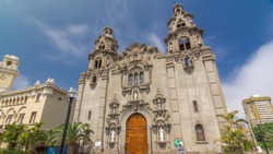 Parroquia Virgen Milagrosa Church in Lima, close to Kennedy Park view , Peru. Clouds on a blue sky