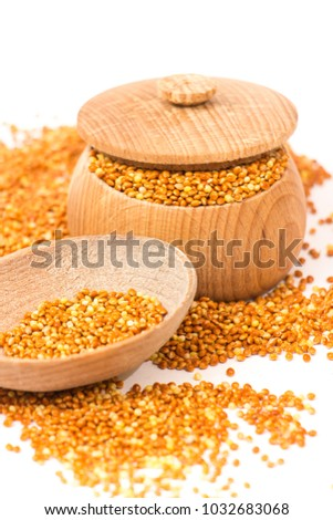 Parrot food isolated on a white background. #1032683068