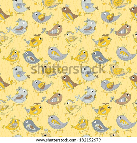 Parrot  seamless colorful pattern. yellow background. lucky birds