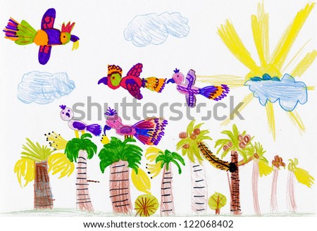 parrots flying over palm trees. child's drawing