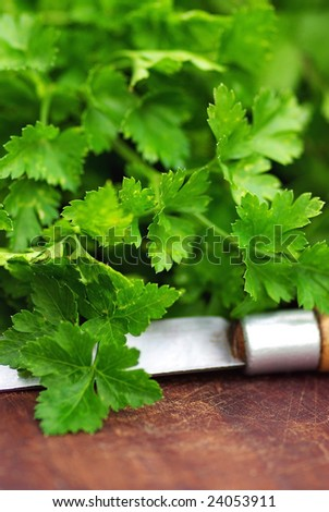 Parsley and knife.