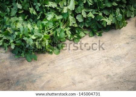 Parsley on chopping board