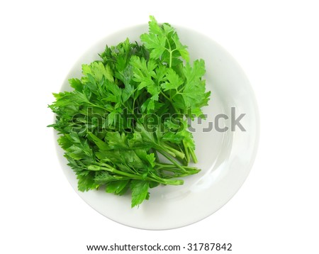 Parsley on white  plate. Top view. Isolated #31787842