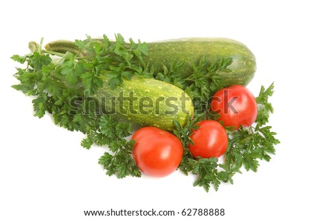 Parsley, squash and tomatoes on white background