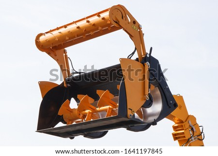 Part and detail of agricultural machinery. Concept of modern technology in agriculture