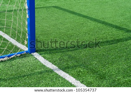 Part field with goal for game of football.