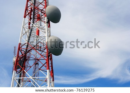 Part of a communications tower with antennas