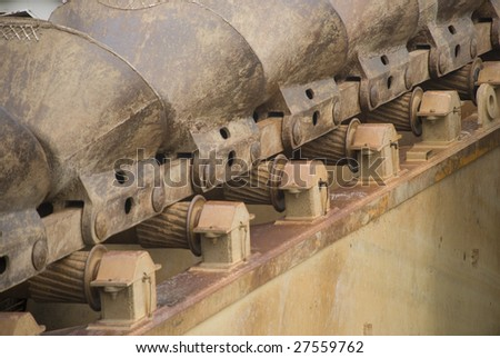 part of a dredge ship - stock photo