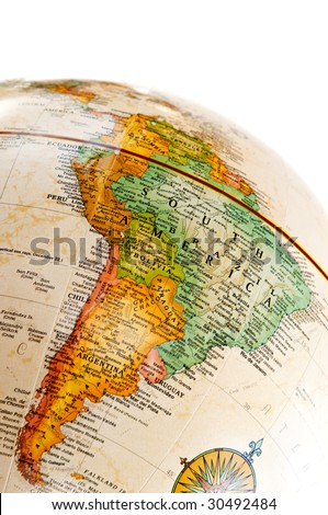 Part of a globe with map of South America