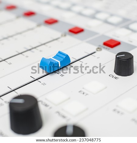 Part of a mixing panel in a radio studio