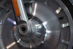 part of a motorcycle wheel close up