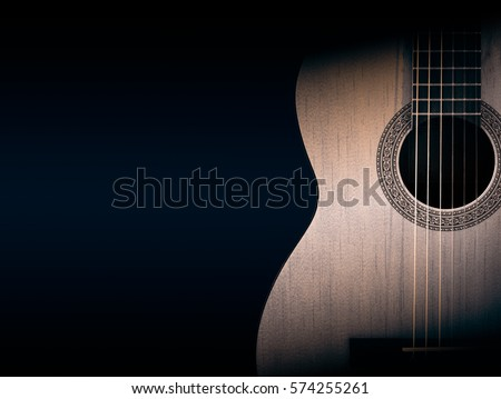 Part of a orange acoustic guitar on black background. #574255261