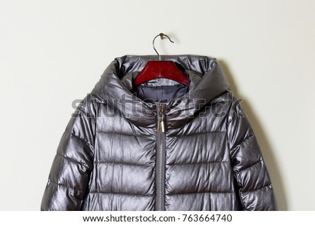 Part of a women's winter jacket with a gray hood, close-up.  Outerwear. Collection of fashionable coverings 2017-2018. - Shutterstock ID 763664740