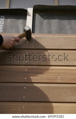 part of a wooden house in construction Photo stock ©