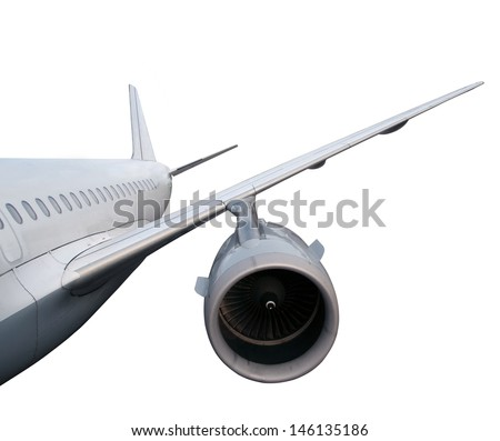 part of airplane isolated on white background.  passenger airplane in flight. nobody