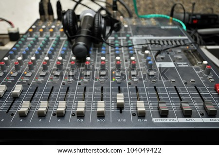 Part of an audio sound mixer