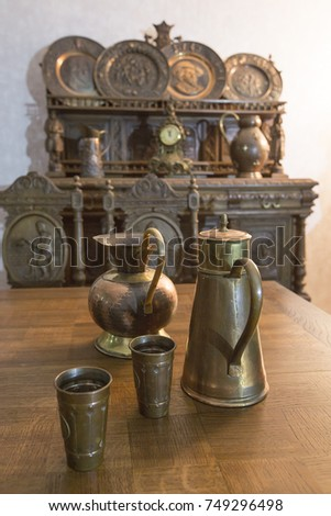 Part of antique kitchen interior in traditional Belgian style. #749296498