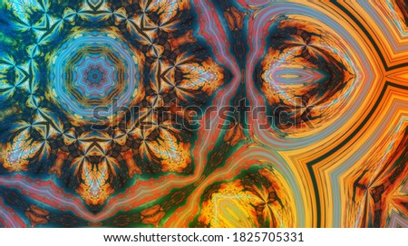 Part of Beautiful mandala with ornament in cyan and orange. Esoteric magic concept. Stok fotoğraf ©