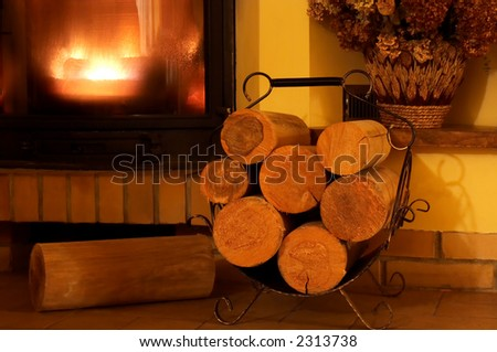 Part of blazing fireplace with few logs ahead