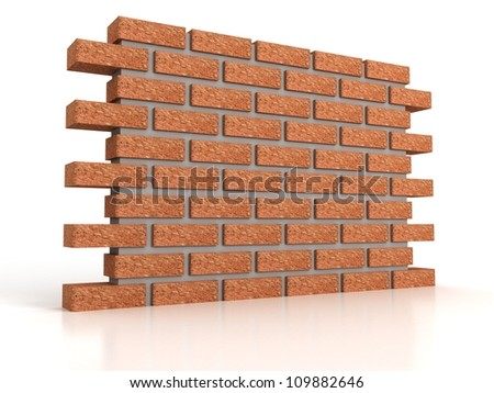 part of brick wall on white background