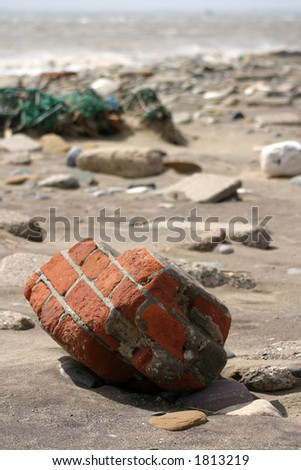 Part of brickwork found on beach at Spurn Point