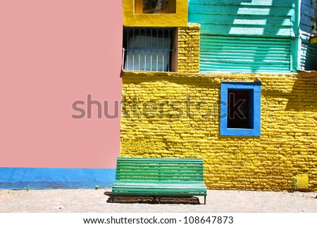 Part of colourful buildings of La Boca Buenos Aires Argentina