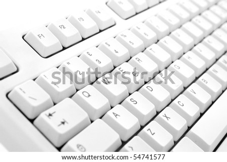 Part of computer keyboard on white