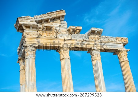 part of construction ancient ruins Apollo Temple Roman Empire Side Turkey