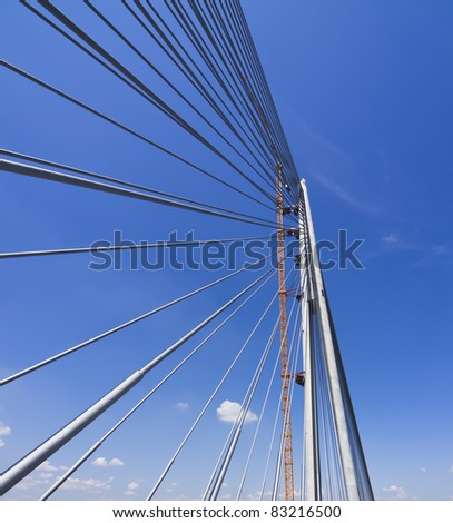 Part of construction of new Belgrade biggest bridge with one tower ( pilon)  in the world / river Sava, Serbia / under construction / one pylon / wide angle lens