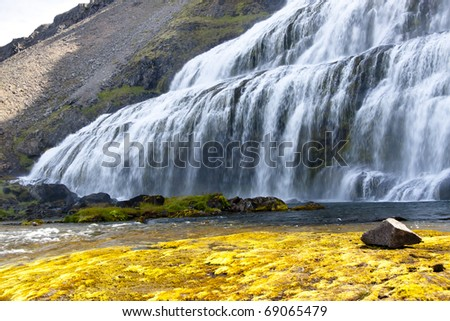 Part of Dynjandi beauty waterfall in Western Iceland - Westfjords.