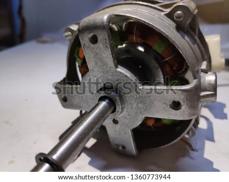 Part of electric motor with fan