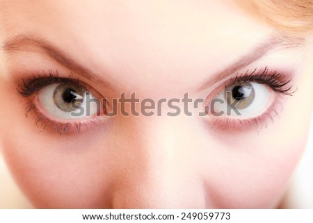 Part of face female eyes wide open. Blonde emotional girl wide eyed