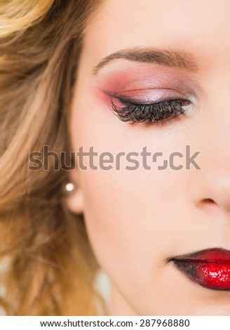 part of face of young woman with closed eye #287968880