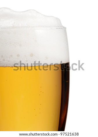 Part of glass full with beer - stock photo