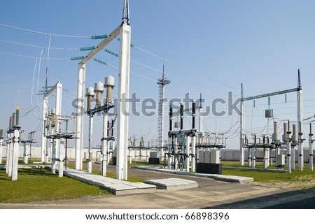 part of high-voltage substation - stock photo