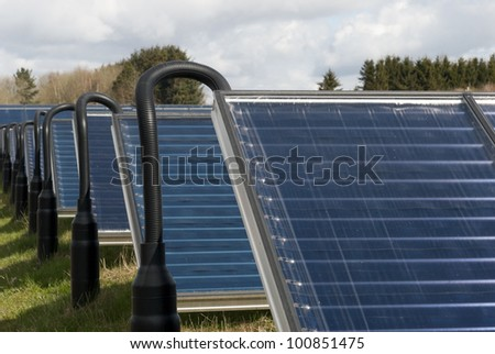 Part of hot water solar heating system - stock photo