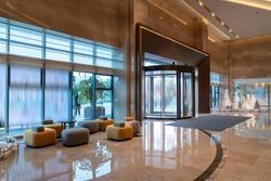 Part of Hotel lobby interior, modern style.