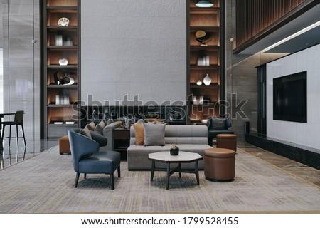 Part of Hotel lobby interior, modern style. Zdjęcia stock ©