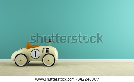 Part of  interior with stylish beige toy car 3D rendering