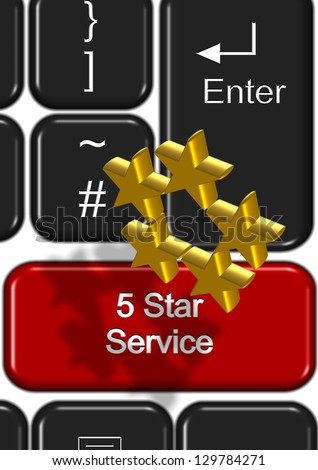 Part of keyboard with a five star service button / Online 5 star service