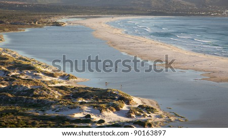 Part of Long Beach, with a section of Kommetjie in the background, Cape Peninsula, Cape Town, South Africa.