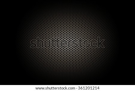 part of microphone and loudspeaker. black and gold curve metallic mesh background texture.