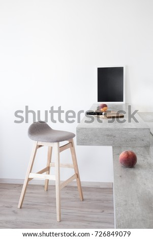 Part of modern scandinavian style kitchen. Bar counter with bar counter and peaches. #726849079