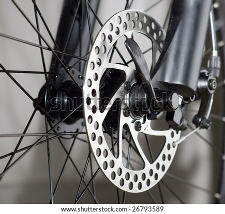 Part of Mountain Bike brake disc in close up.
