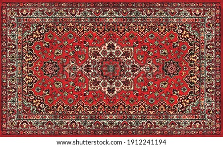 Part of Old Red Persian Carpet Texture, abstract ornament Foto d'archivio ©