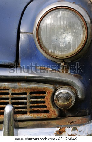 Part of old rusty car made in Russia