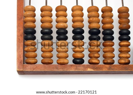 part of old wooden abacus close-up