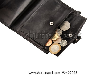 Part of open black wallet with coins on white with clipping path