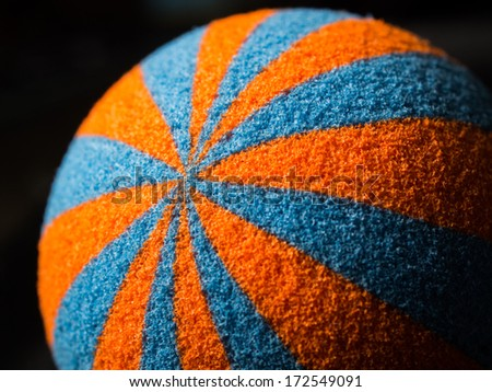 part of orange and blue sponge ball texture